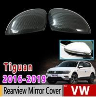 for VW Tiguan II MK2 2016 2017 2018 2019 Volkswagen Chrome Carbon Fiber Rearview Mirror Cover Accessories Car Sticker