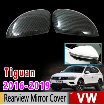 for VW Tiguan II MK2 2016 2017 2018 2019 Volkswagen Chrome Carbon Fiber Rearview Mirror Cover Accessories Car Sticker
