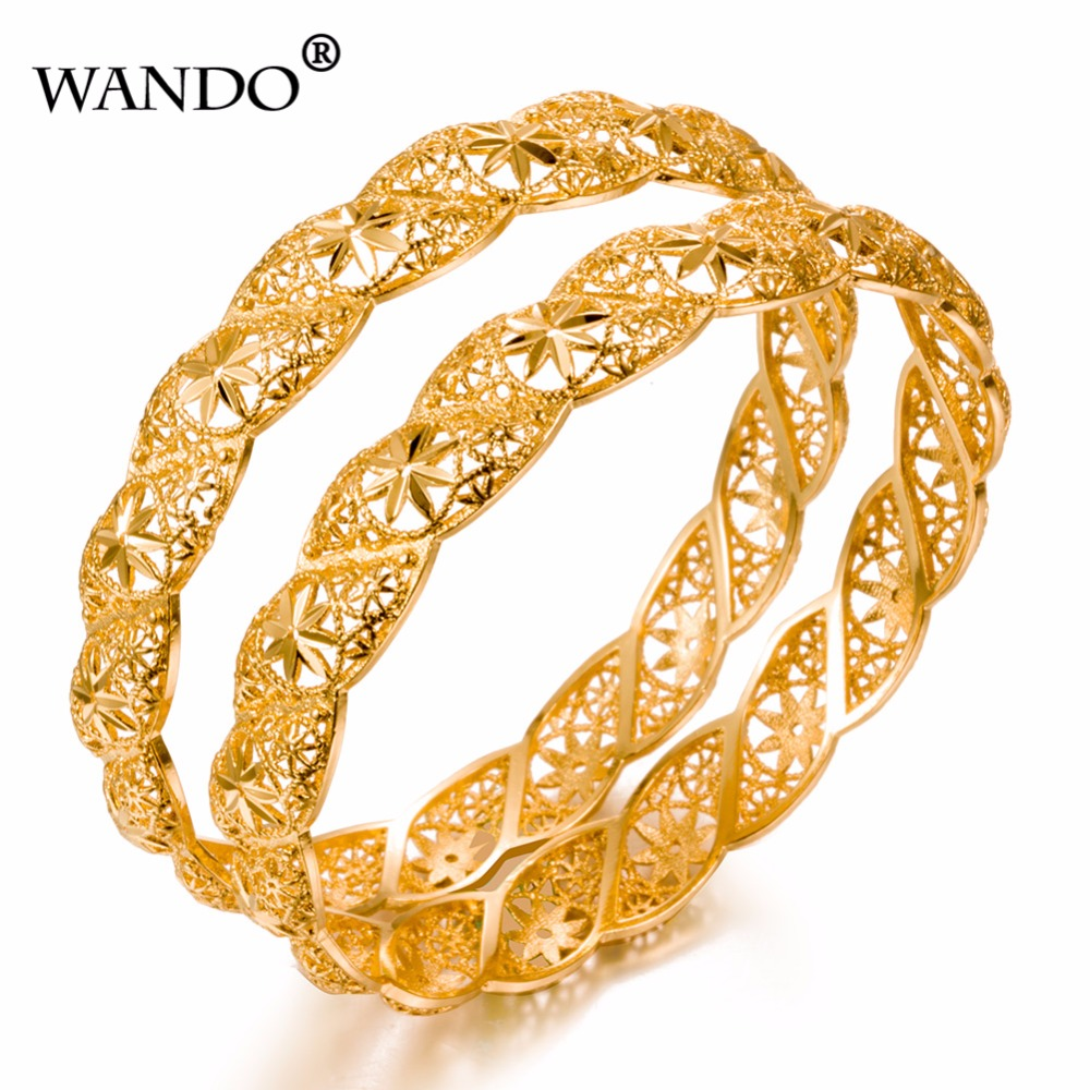 WANDO 1pcs Women flower Gold Color Bangles Wedding Party Dubai Gold Jewelry Ethiopian Accessories WB22