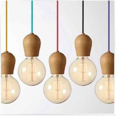 Vintage pendant light Oak Wood lamp 100cm colored cable E27/E26 socket wood lampholder Hanging light fixture.only lamp,No bulbs