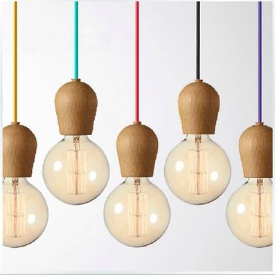 Vintage pendant light Oak Wood lamp 100cm colored cable E27/E26 ...
