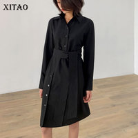 [XITAO] Pullover Fashion New Women 2019 Spring Summer Turn down Collar Full Sleeve Button Solid Color Knee length Dress DLL2264