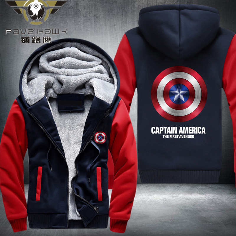 Dropshiping Hot New The Avengers Iron Man Hulk Captain America Hoodie Logo Winter JiaRong Fleece Mens Sweatshirts Free Shipping