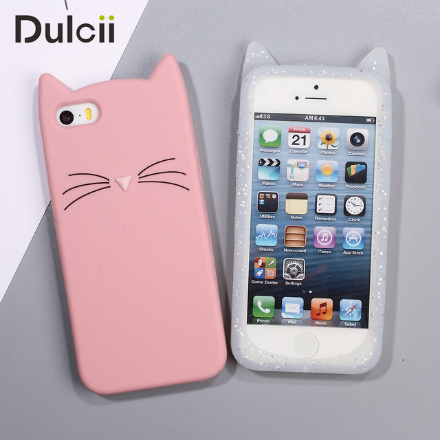 the latest 532ec 1296a US $3.29 |Dulcii For iPhone5 SE 5S Case 3D Bearded Cat Silicone Soft Cover  Capa for Apple iPhone S E 5 S 5 4.0