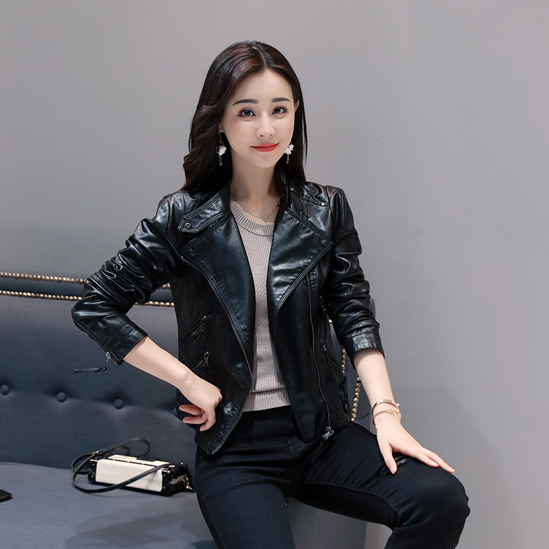 Brand Motorcycle   Leather   Jacket Women Autumn And Winter New Fashion Coat Black Zipper Jacket Outerwear New 2018 Short PU Coat