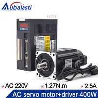 Aubalasti 400W AC Servo Motor kits 1.27N.M 3000RPM 60ST M01330 AC Motor Matched Servo Motor Driver AASD 15A CNC Router Machine