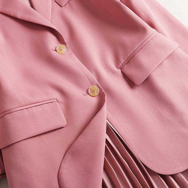 2 Robe Deux Top Ensemble En Printemps Et Rose Plissée Soie Pur 2019 Nouveau De D'office Femmes Pièces Lady Mousseline Fahion Couleur Manteau Crop Costume 5qgagXw