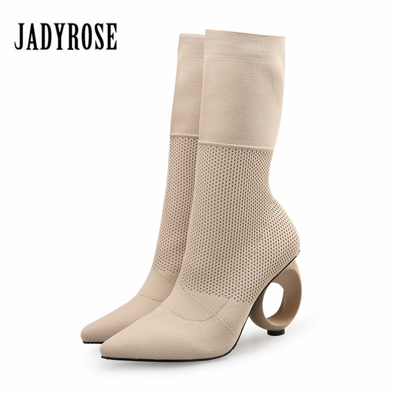 Jady Rose Designer Women Autumn Winter Boots Strange High Heels Pointed Toe Stretch Ankle Boots Knit Sock Boot Valentine Shoes fashion kardashian ankle elastic sock boots chunky high heels stretch women autumn sexy booties pointed toe women pumps botas
