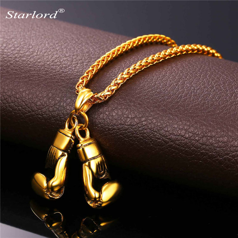 Golden Boxing Glove Pendant Charm Necklace Sport Jewelry 316L Stainless Steel Yellow Gold/Silver Color Chain For Men New GP2171