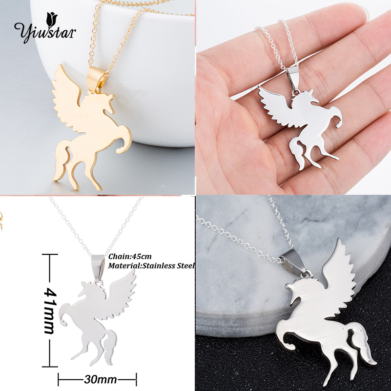 Silver flying elephant wings pendant solid stainless steel chain gothic necklace