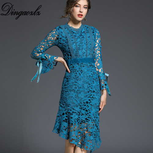 1cffa2bb75a3 Dingaozlz 2018 Printemps Mince de mode dentelle robe élégante à manches  longues arc couture femmes robe ...