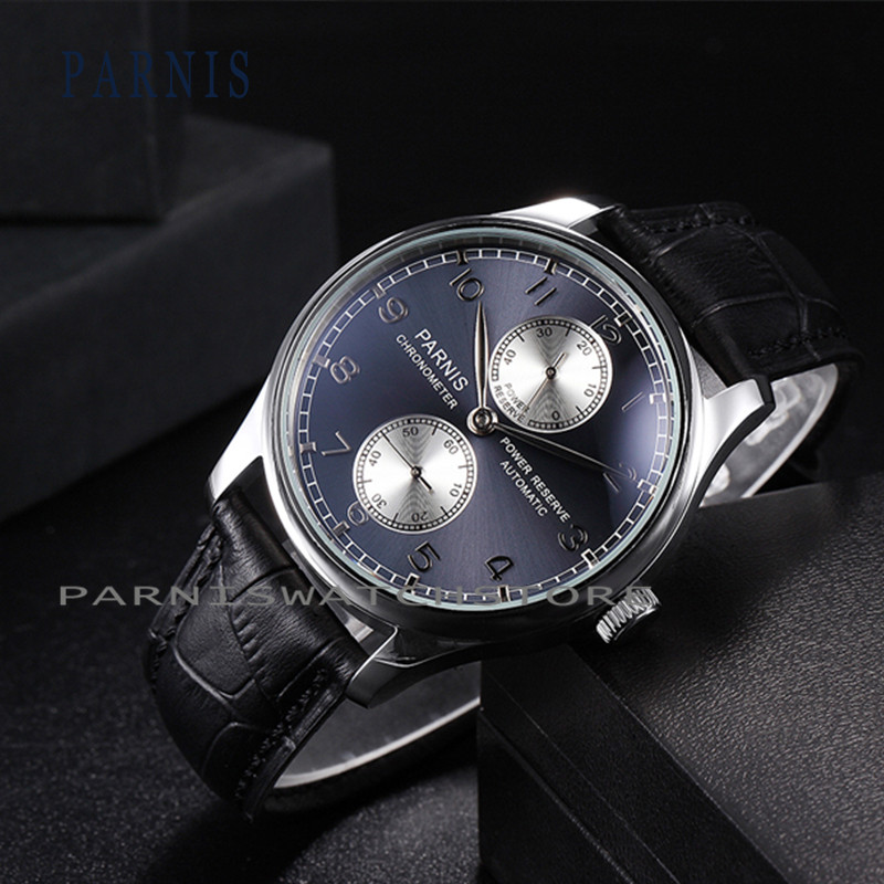 43mm Men Watch SeaGull Parnis Automatic Mechanical Mens Watch Power Reserve Black Dial Men's Watches Black Dial Silver Number  casual 43mm parnis automatic power reserve white dial blue numbers silver watch case business watch men