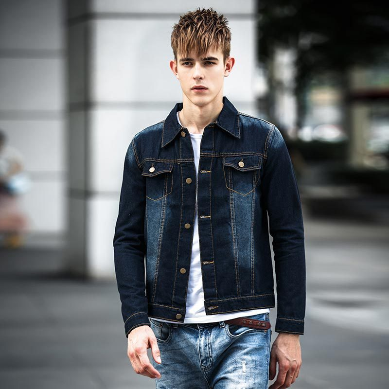 Light blue denim jacket with dark jeans – Modern fashion jacket ...
