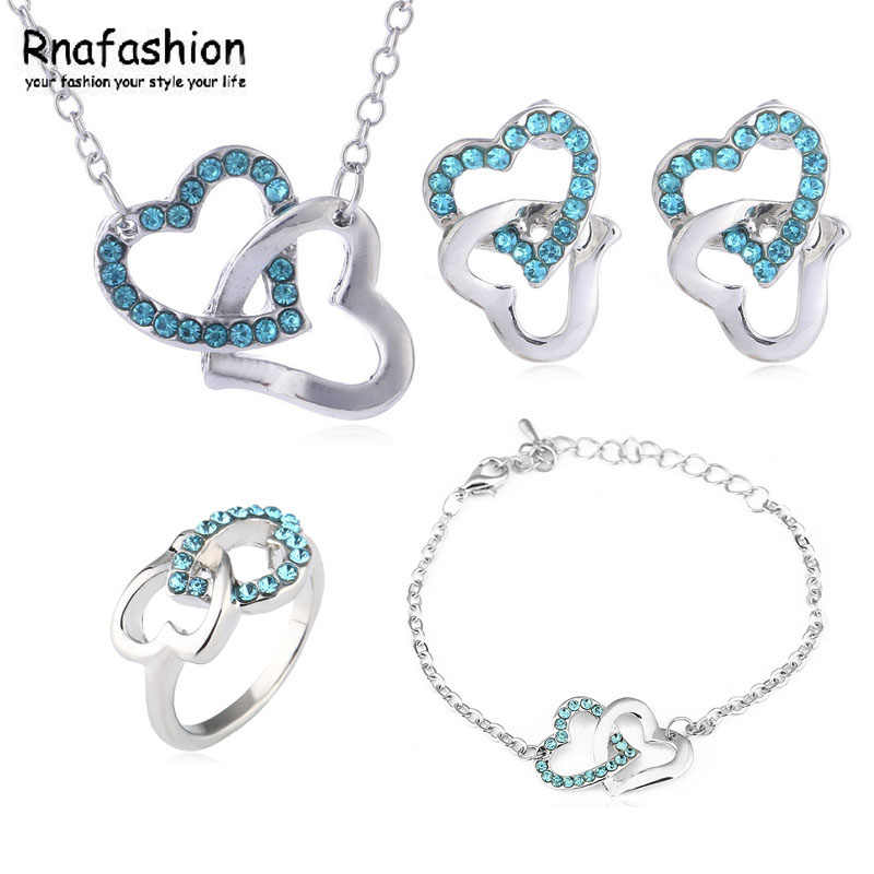 Hot fashion simple to tie the knot heart to heart necklace earrings bracelet ring family of four loaded -048