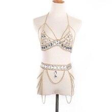 Women Waist Belt Chain Top Bra Harness Summer Bikini Water Drop Bodychain