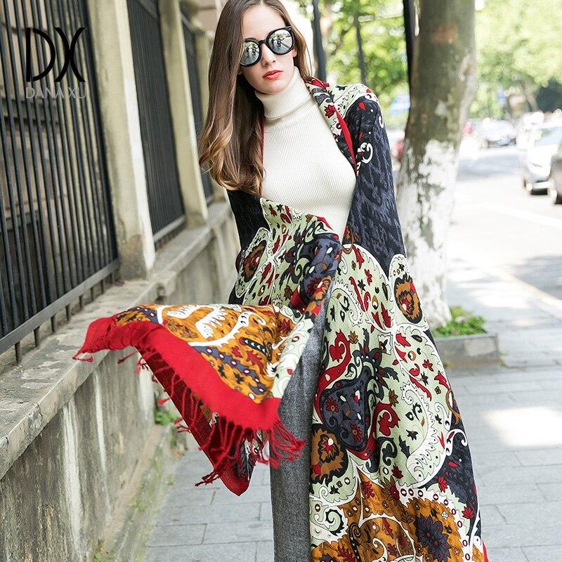 2019 nouveau hiver femmes écharpe de luxe marque 100% Pure laine grande taille Bandana Cape Hijab couverture châles et enveloppes cachemire Pashmina - 6