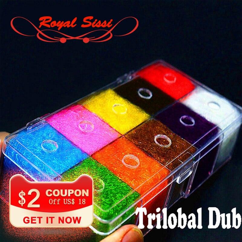 10colors fly tying materials trilobal dubbing luxury despenser box/ Shaggy dubbing sparkle translucence gleamy trilobal ice dub