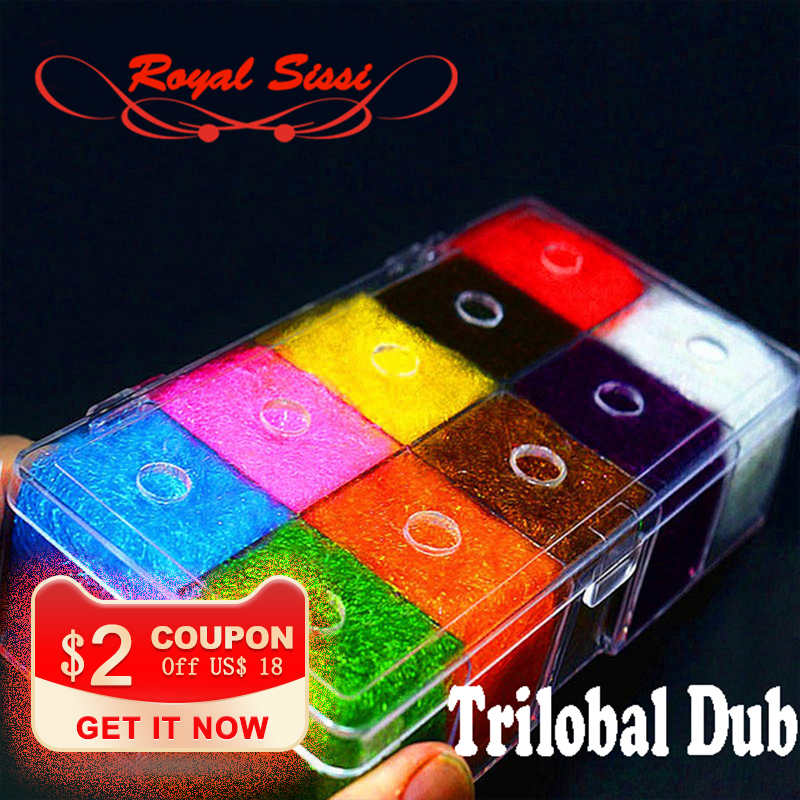 10colors fly tying materials trilobal dubbing luxury despenser <font><b>box</b></font>/ Shaggy dubbing sparkle translucence gleamy trilobal ice dub