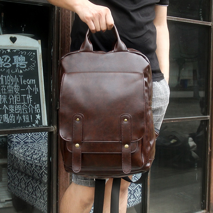 Korean New Men Backpacks Vintage PU Leather Travel Bag Student Casual Laptop Backpacks Leisure School Bags For Teenagers Girls 2017 new high quality shoulders bag pu leather women backpack casual school bags for teenagers girls travel backpacks