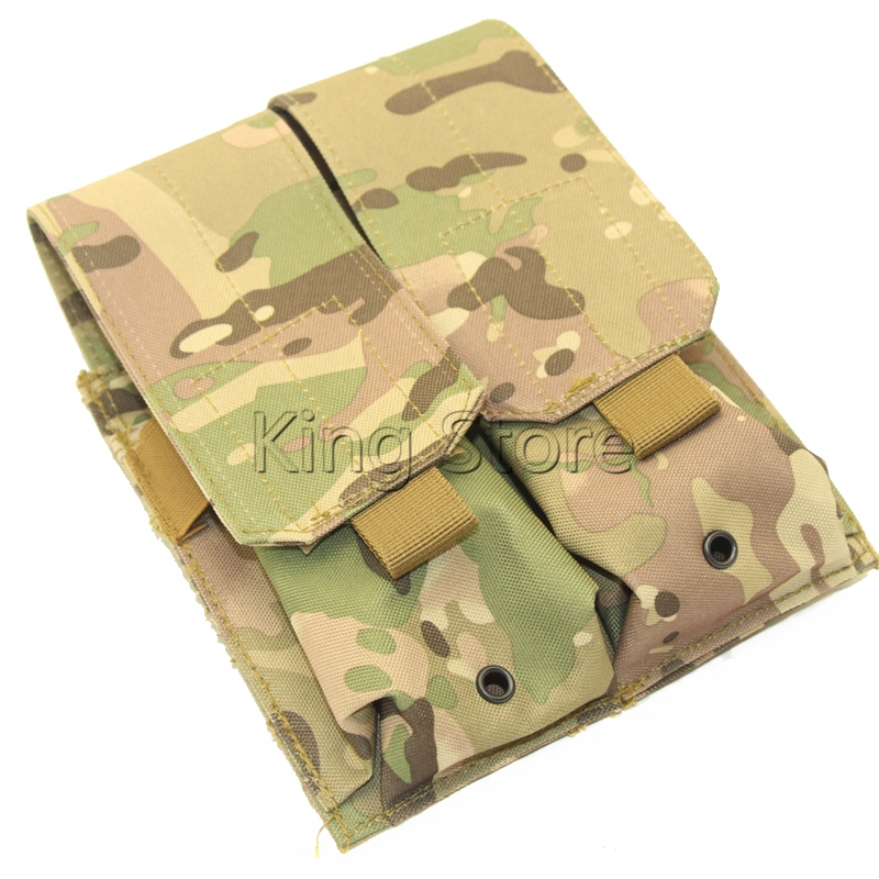 Tactical Molle Double Stack Rifle Magazine Pouch Multicam Camouflage Gun Mag Pouch Bag M4 AR 15 image