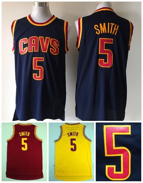 Cheap  5 JR Smith Jersey Cavs 2015 New REV 30 J.R Smith Basketball Jersey  Embroidery Logos Dark Blue Yellow Jersey Red f871e3553