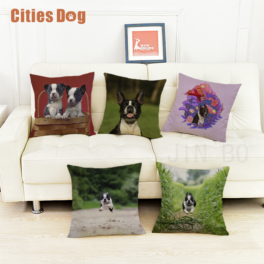 Boston terrier dog cushion sofa cover pillows decorative 2018 new Year Valentines Day gift dogs pillowcases almofada cojines