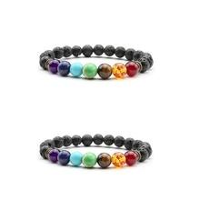 2020 neue Mode Chakra Armband Männer Frauen Natürliche Stein Schwarz Lava Healing Balance Perlen Reiki Buddha Gebet Yoga Armband