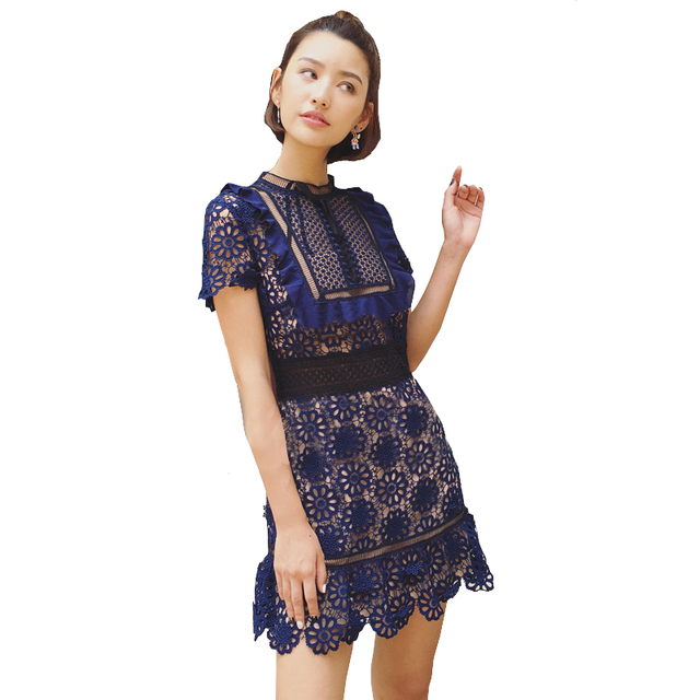 2017 Runway Designer Dresses Women High Quality Embroidery Lace Up Fish Net Hollow Out Mini Party Dress Sukienka Vestidos Cortos