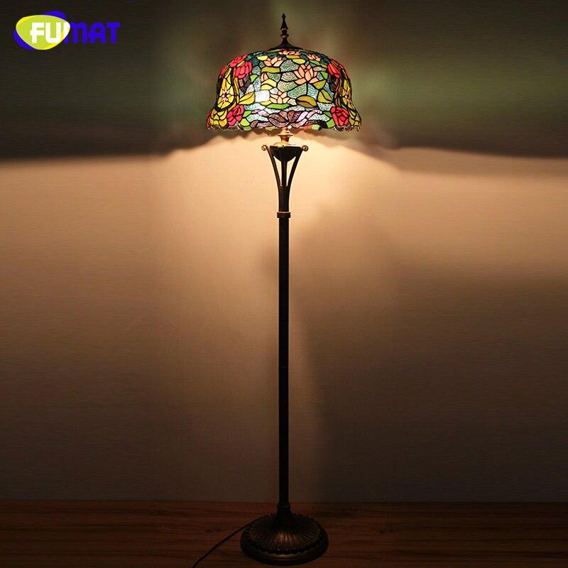 FUMAT European Luxury Tiffany Floor Lamp Home Decor Lotus Flower Glass  Shade Stand Lights Living Room Bedside LED Floor Lights