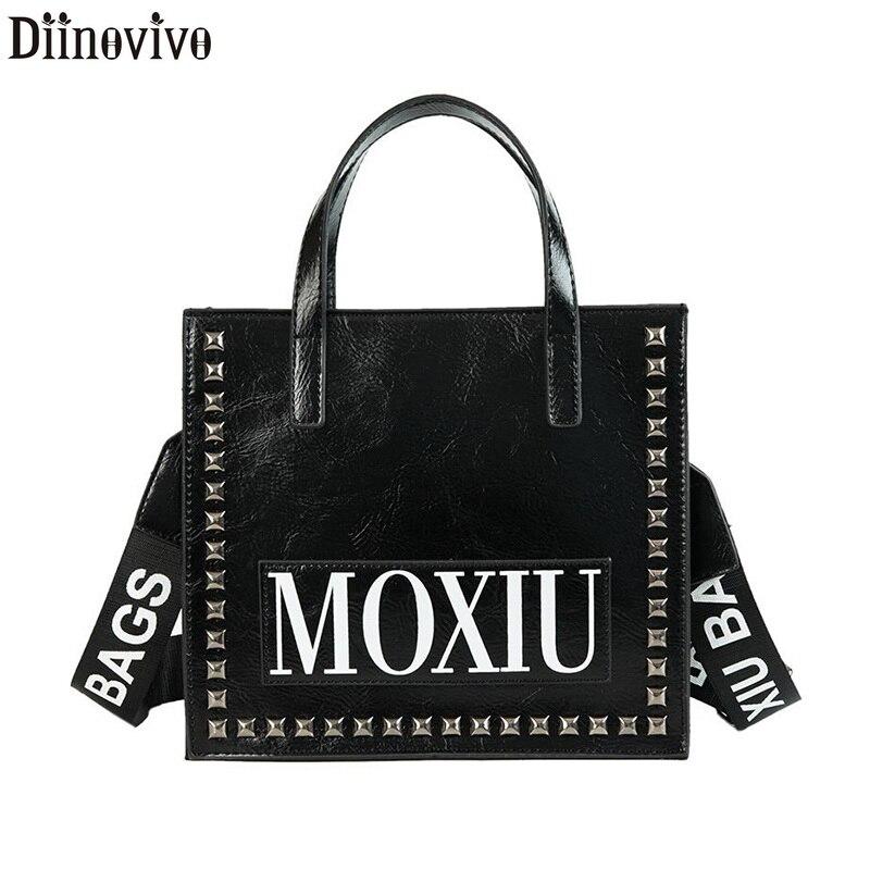 DIINOVIVO Punk Rivet Designer Women's Bag 2020 PU Leather Bag Handbag Fashion Travel Letter Tote Crossbody Shoulder Bag WHDV1008