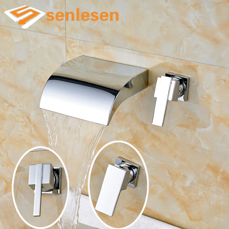 High-end Good Price Single Handle Two Holes Chrome Finish Wall Mounted Bathroom Faucet