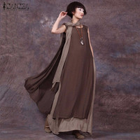 Oversized 2016 Summer ZANZEA Women Vintage Casual Loose Sleeveless Dress Sexy Ladies O Neck Splice Long