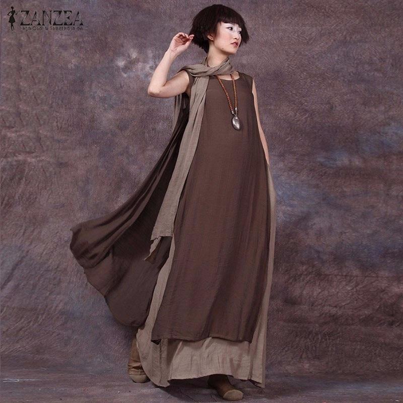 De gran tamaño 2018 verano ZANZEA mujeres Vintage Casual vestido suelto sin mangas Sexy Ladies O cuello de empalme Maxi vestidos largos más tamaño