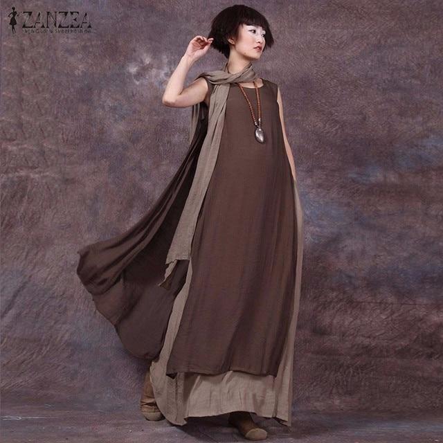 e2a19b198cff Oversized 2019 Summer ZANZEA Women Vintage Casual Loose Sleeveless Dress  Sexy Ladies O Neck Splice Long Maxi Dresses Plus Size