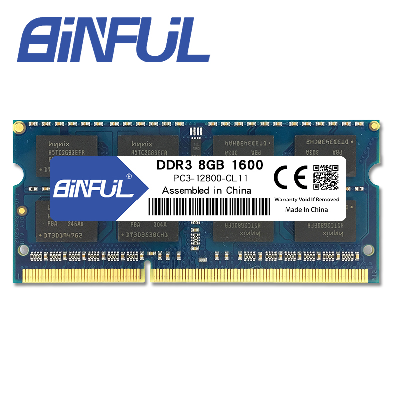 Binful Original New Brand DDR3 PC3 12800s 8GB 1600mhz for laptop RAM Memory 204pin Notebook 1.5V voltage lifetime warranty
