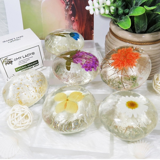 Amino acid Flower Handmade Soap Pure Natural Plant Soap for Face Hand Body Bath Flower Soap Nourish Skin Anti-allergy Cleansing