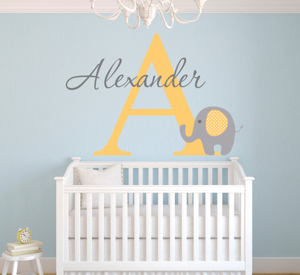 Us 8 98 25 Off Customize Name Cute Elephant Nursery Wall Stickers For Kids Room Baby Decals Removable Diy Vinyl Waterproof Wallpaper Jw008 In