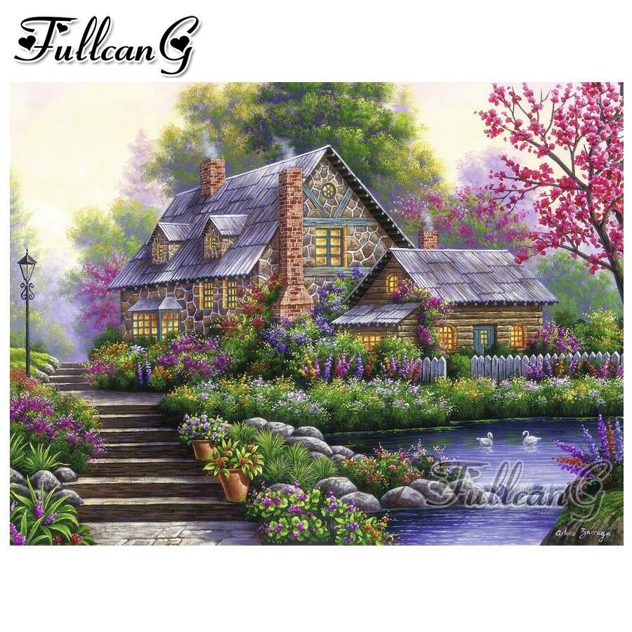 FULLCANG 5d diy diamond painting wonderland cottage full square/round drill mosaic embroidery rhinestone sale garden kit FC1211