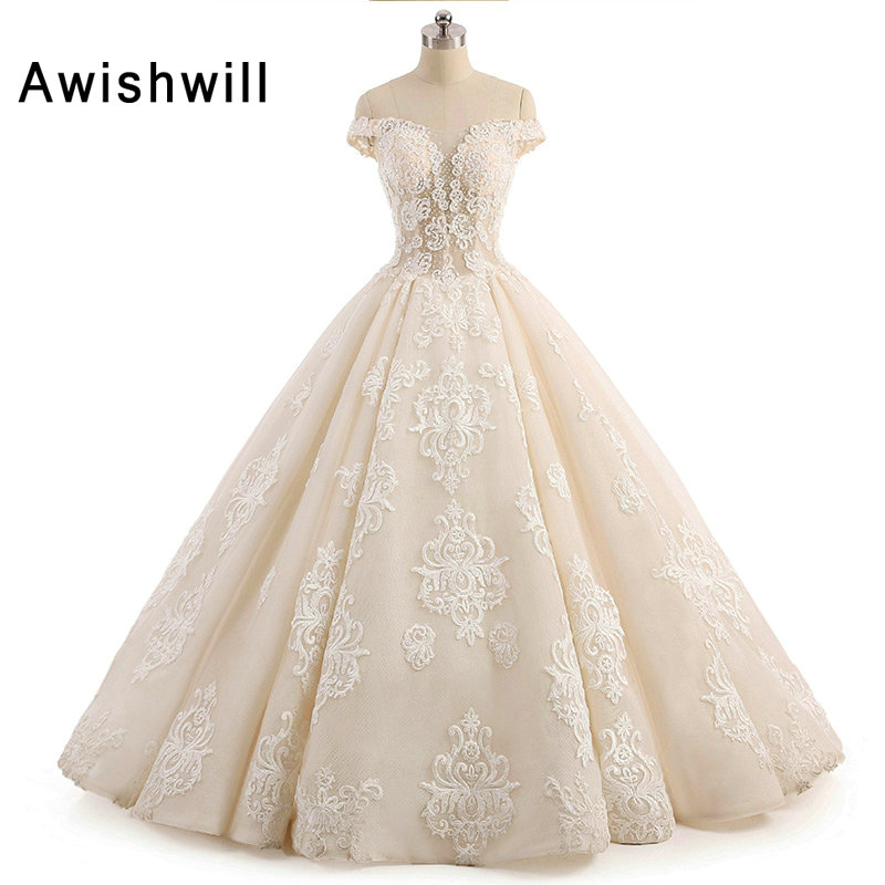 Real picture off the shoulder beading lace appliques ball for Lace mid length wedding dresses