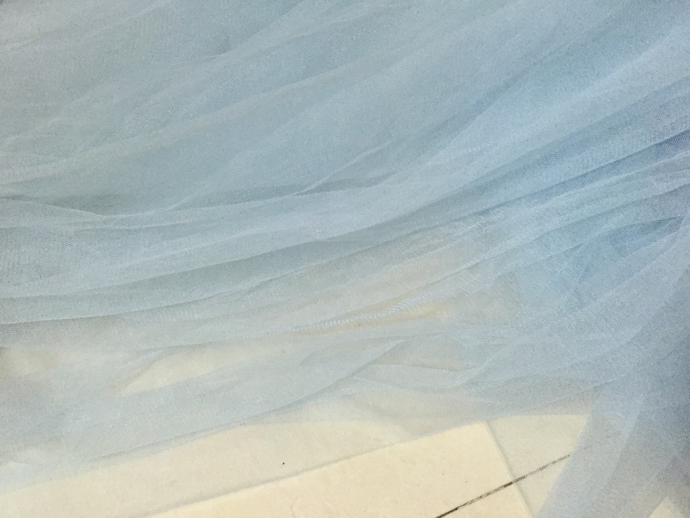 Baby Blue Pale Blue 165cm Wide Nylon Soft Feeling Material Mesh Tulle Net  Tissue Grid Fabric