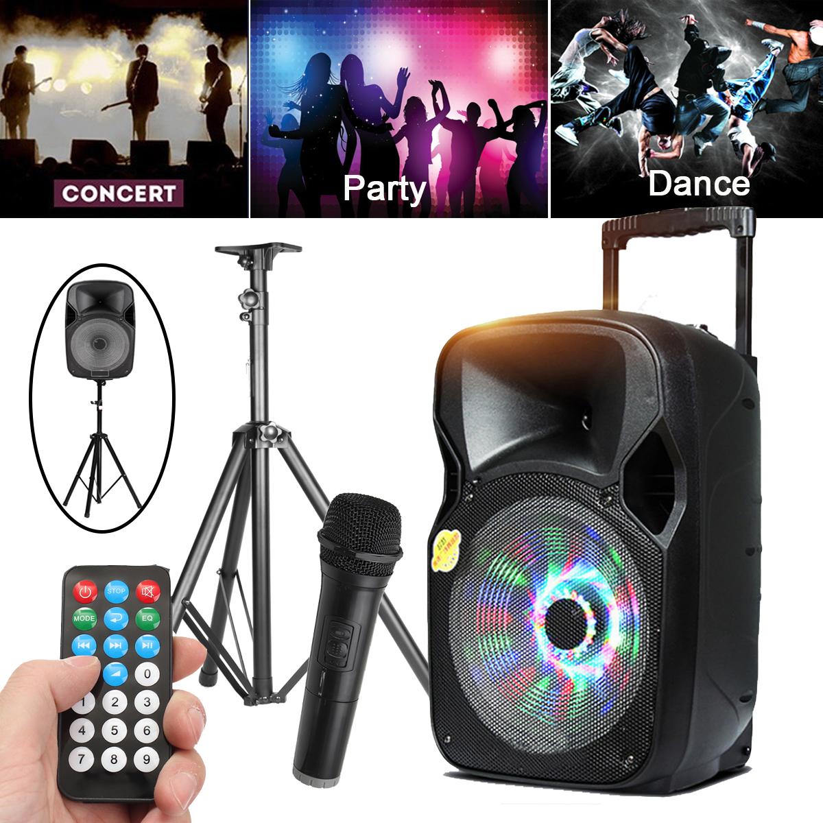 220W 12 PA System Active Address Speaker Wireless Mic Bluetooth USB Guitar In Portable Audio & Video Speakers