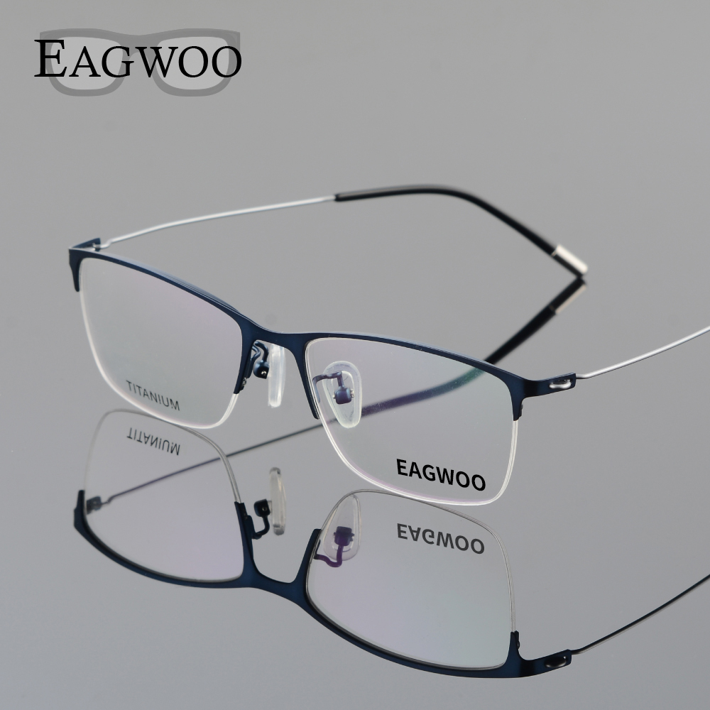 Eagwoo Titanium Eyeglasses Half Rim Optical Frame Prescription Spectacle Wire Temple Glasses Men Nerd Slim Light Eyeglasses 5205