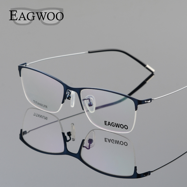 5883ece410 Eagwoo Titanium Eyeglasses Half Rim Optical Frame Prescription Spectacle  Wire Temple Glasses Men Nerd Slim Light