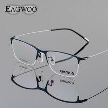 Eagwoo Titanium Eyeglasses Half Rim Optical Frame Prescription Spectacle Wire Temple Glasses