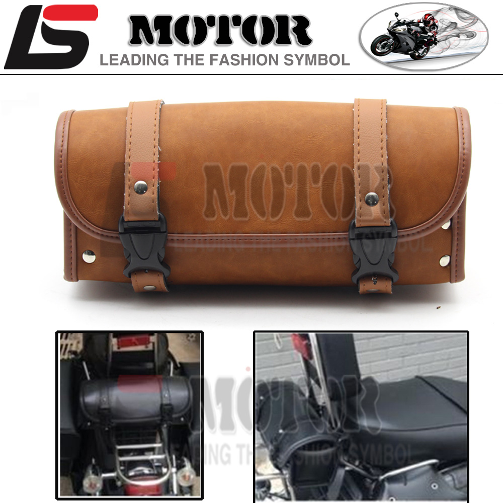 Motorcycle Saddlebag Roll Barrel bag Storage Tool Pouch For Harley Davidson New PU Leather Scooter Package
