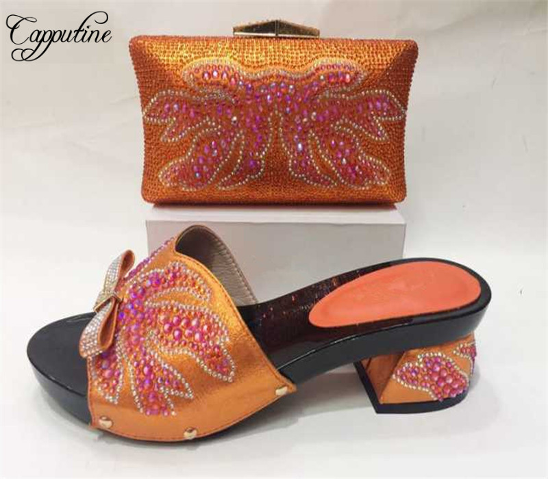 Capputine Nigerian Style Ladies Shoes And Matching Bag Set Italian Decorated With Stones High Heels Shoes and Bag Set For Party capputine new arrival fashion shoes and bag set high quality italian style woman high heels shoes and bags set for wedding party