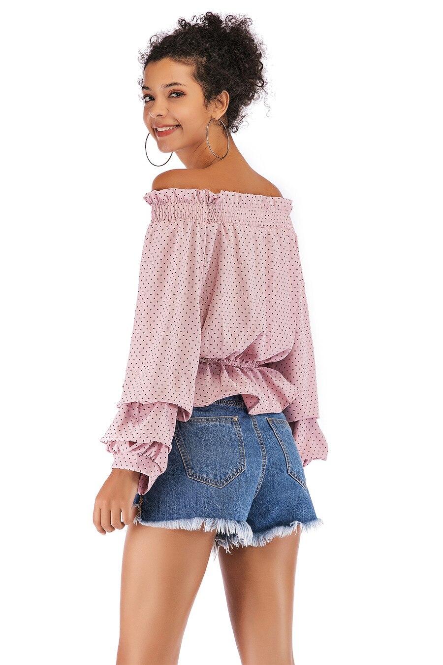 Gladiolus Chiffon Blouse Women 2019 Spring Autumn Long Sleeve Polka Dot Off Shoulder Sexy Blouses Women Shirts Ruffles Blusas (31)
