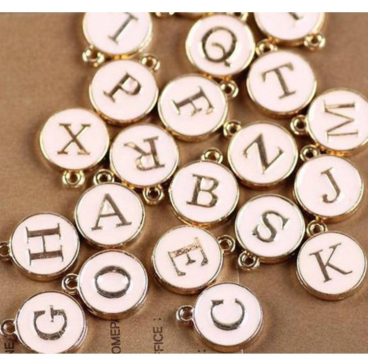 10pcs/26pcs  Alphabet Letter Double Face Enamel Charms  Gold color 41*24mm pendants jewelry making Handmade craft 4