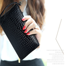Womens Clutch Bag Simple Fashion Black PU Leather Handbag Stone Pattern  Shaped Small bag Women Phone Money