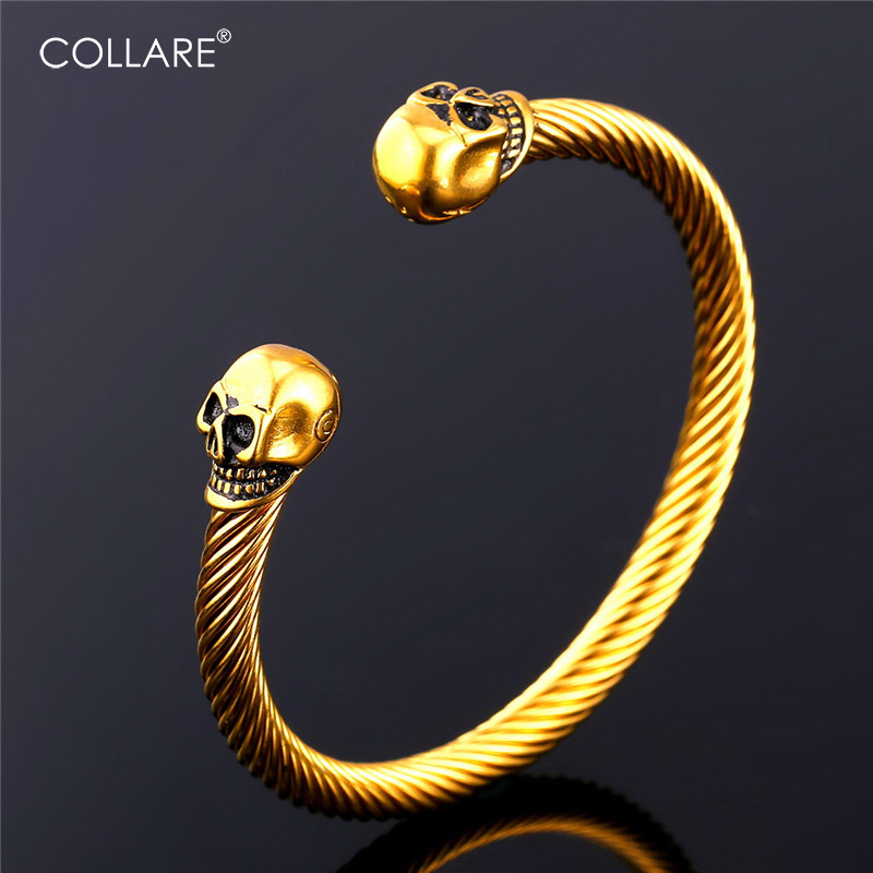 Collare Retro Punk Skull Bracelet Stainless Steel Gothic Bracelets & Bangles Gold Color Cuff Bracelets Wholesale Jewelry H161